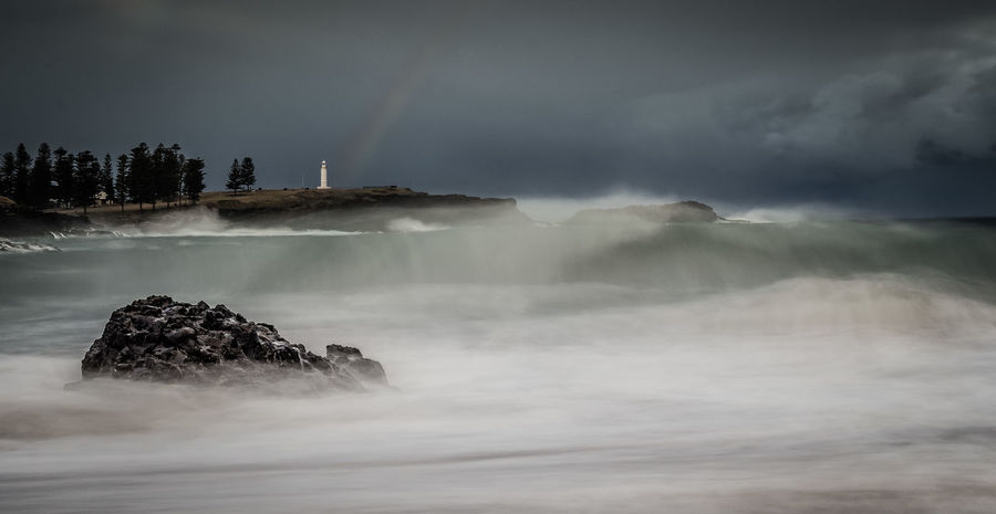 storms a brewing Weather Winter Drama Rainbow Dramatic Sky Ocean Sea Lighthouse Long Exposure Australia Travel Rough Storm Outdoors No People Nature Water Sky Sea Storm Cloud Power In Nature Spraying Crash Beauty In Nature Thunderstorm