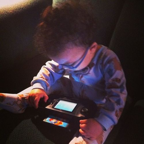 Apparently Asher likes playing Sonic2 Sonicthehedgehog on the Sega Seganomad . That or he just enjoys the music. It is pretty catchy. geek parenting retrogamer newgamer babiesofinstagram baby toddler 16bit segagenesis