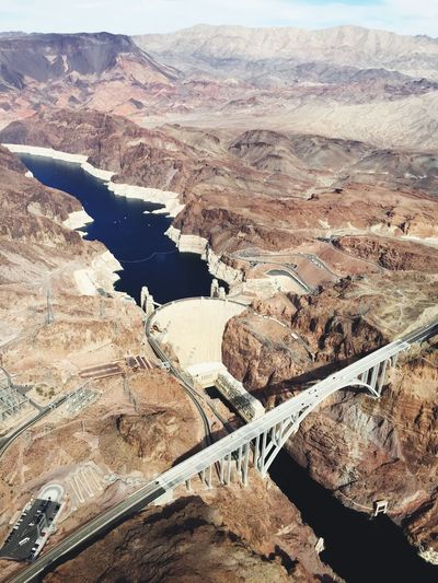 Aerial view of mike ocallaghanpat tillman memorial bridge and hoover dam