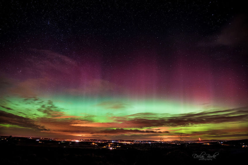 Aurora borealis over Castlederg in County Tyrone, Northern Ireland