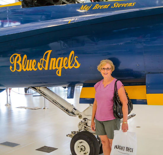 Aircraft Aircraft Museum Blue Blue Aircraft Blue Angels Casual Clothing Day Female Model Information Information Sign Journey Leisure Activity Lifestyles Major Brent Stevens Mode Of Transport Naval Air Museum Naval Air Station White Flower Yellow Yellow On Blue Everyday Emotion This Is Aging