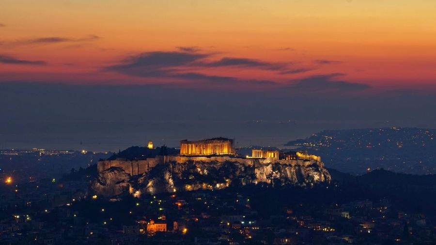 Acropolis, Athens Athens, Greece Holiday Nightphotography View Dusk Historical Building Capital Cities  Hill Scenery Ancient Ancient Architecture