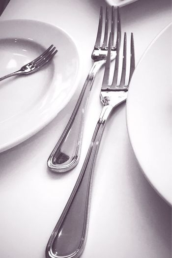 Fork Plate Eating Utensil Cutlery Indoors  Place Setting Table Close-up No People Butter Knife Empty Plate Day