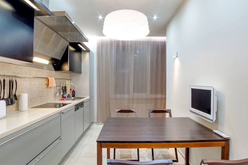 Home Domestic Room Kitchen Domestic Kitchen Modern Home Interior Indoors  Household Equipment Home Showcase Interior Lighting Equipment Sink Table No People Absence Seat Furniture Appliance Luxury Wealth Wood - Material Electric Lamp Steel