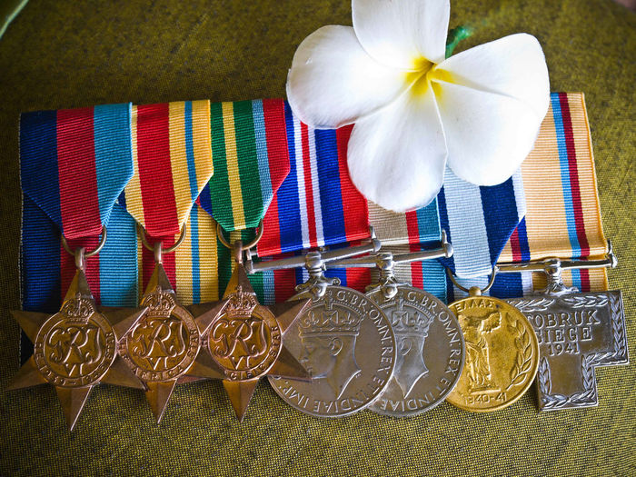 Australian Medals Tobruk Crete ANZAC Day Eighth Army ANZAC Anzac Day Anzac Spirit Art And Craft Australian Medals Close-up Creativity Flower Freshness Multi Colored No People Siege Of Tobruk Vivid International