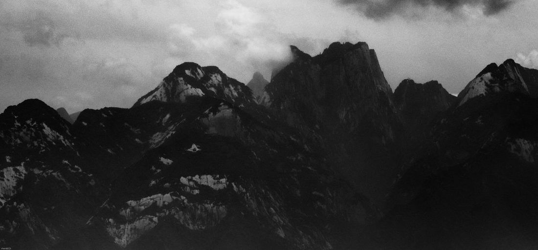 Mountain Nature Sky Beauty In Nature No People Rock - Object Scenics Tranquility Tranquil Scene Outdoors Cloud - Sky Mountain Range Day Landscape huashan mountain