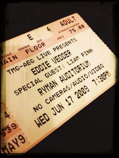 Good times Eddie Vedder Ryman Auditorium Ticket Good Times