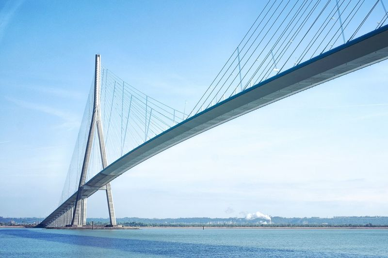 🌉 Connection Engineering Suspension Bridge Transportation Architecture Built Structure Outdoors Day No People Sky Bridge River Water Nature Clear Sky Sea Travel Road Architecture City Transportation Bridge - Man Made Structure
