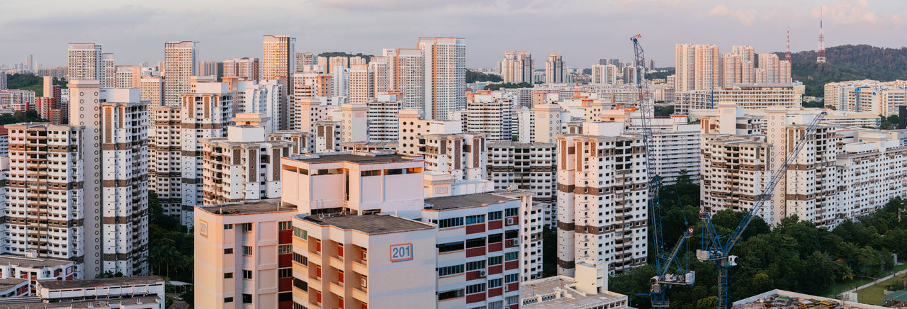Building Exterior Built Structure Architecture City Building Residential District Day Sky Cityscape Nature No People Outdoors Modern Office Building Exterior Tall - High Skyscraper Tower High Angle View Apartment Panorama City Singapore Singapore View Sunset, Holiday Moments