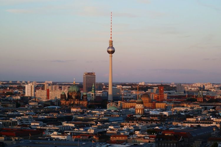 Berlin View Fernsehturm Fernsehturm Berlin  Berlin Berliner Ansichten Berlin Photography Berlin Mitte Germany Deutschland Berlin Love Streetphotography Street Photography EyeEm Selects City Cityscape Urban Skyline Modern Skyscraper Illuminated Sunset Business Finance And Industry Downtown District High Angle View Urban Sprawl Television Tower Tall - High Tower Office Building Exterior