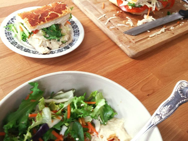 Sandwiches Lunch Break Lunchtime Tiger Bread Learn & Shoot: Simplicity Kitchen Table Tasty Yum Foodphotography Food Porn Foodporn Food Lunch Salad Plate Vintage Sandwich Rice Salad Rice Salad Bowl Sandwich Time Saladporn Humous Bowls