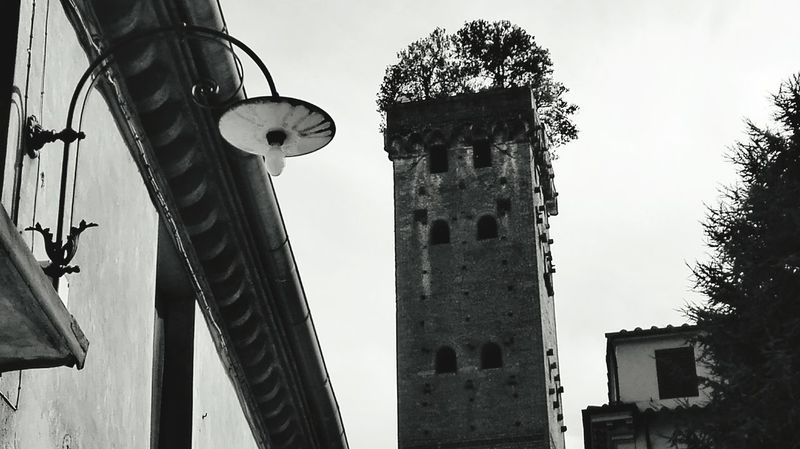 ..stranezze!...oddities! Nikonphotography Lucca Italy🇮🇹 Tuscany Autdoor Huaweiphotography Monument Bnw_collection Photocity Blackandwhite Solitary Sky Architecture Built Structure Historic Tower Historic Building Skyline