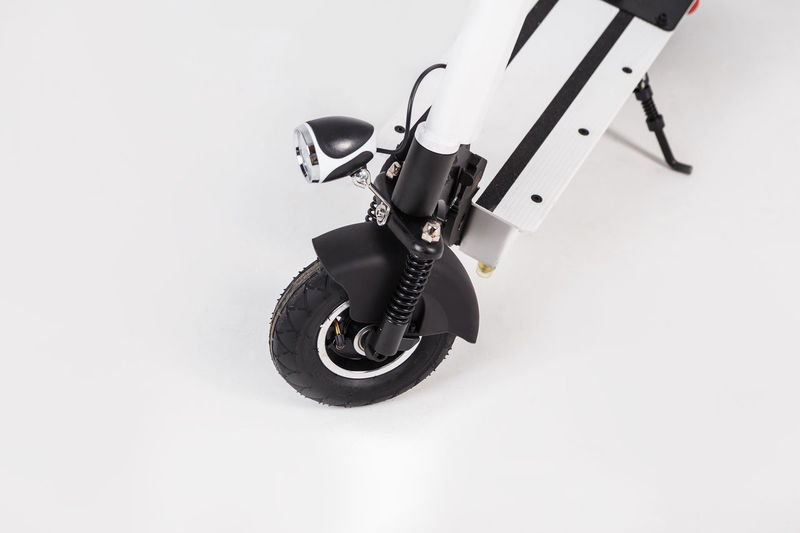 High angle view of push scooter on white background