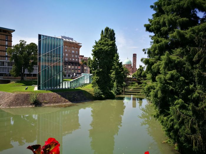 Sunny day Architecture Built Structure Tree Water Building Exterior Clear Sky Canal Tranquil Scene Building Story Blue Modern Architecture Old Church Building Bridge View Sunny Day☀ Hot Weather