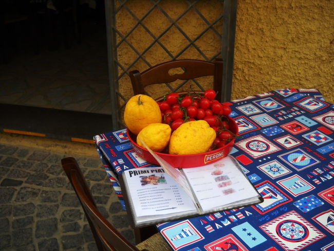 2012 Chair Close-up Day Food Healthy Eating In The Street Ischia Ischia Island Lemons No People Restaurant Menu Table Tomatoes