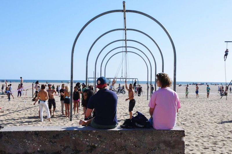 Santa Monica, for fun, fitness and fun. Santa Monica Holiday Summer Beach Tourism USA Sand Bright Beach Life California Showcase July People Together
