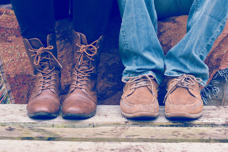 Side by side Boots Boy Engagement EyeEm Gallery Fashion Feet Girl Rustic Shoes Side-by-side Woman