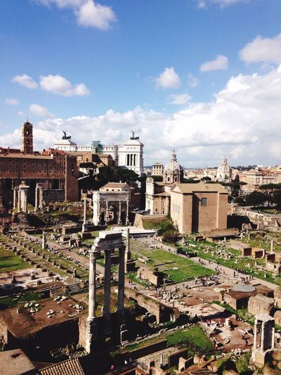High angle view of roman forum against sky