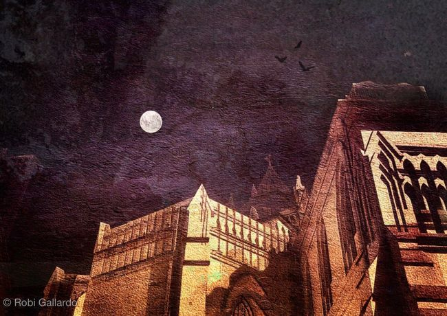 Mid-autumn moon over the cathedral NEM Painterly Mobilephotography NEM Submissions Eyeem_philippines AMPt_community HongKong IPhoneArtism NEM Street Mobileartistry IPhoneography Snapseed Theappwhisperer Nightphotography Shootermag Architecture Low Angle View Tower Full Moon City