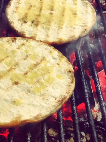 Greek pitta bread on grill Food And Drink Food Preparation  Barbecue No People Close-up Freshness Indoors  Day Pitta Greek Food Bread Coal Fire BBQ Delicious Hot Bread