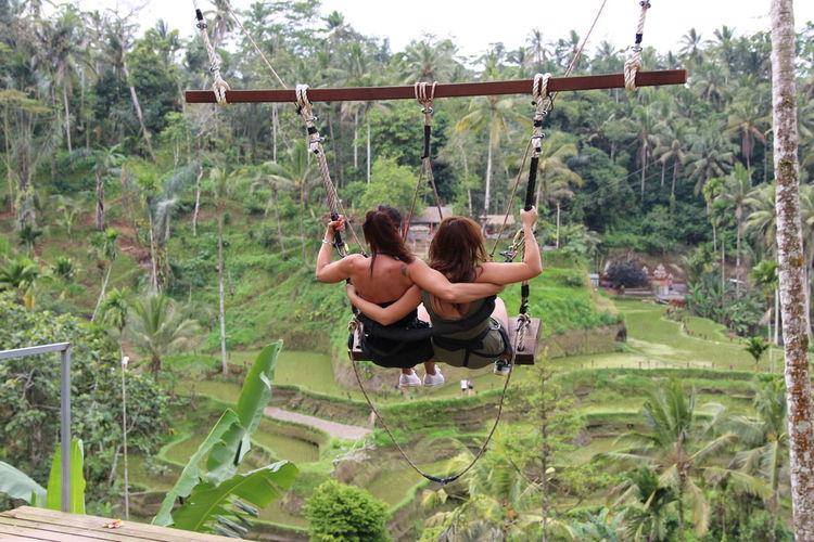 Friends swinging over plants