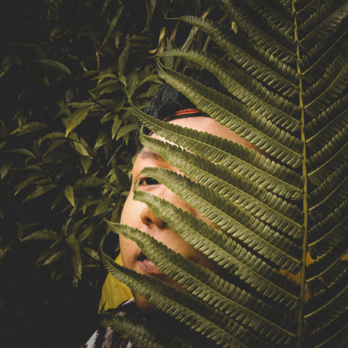 Young man hiding behind plants outdoors