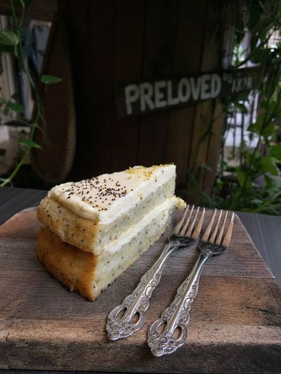 Poppy seed cake Sweet Food Freshness Food And Drink Food Cake Indulgence Temptation Text Dessert No People Close-up Indoors  Ready-to-eat Day Sponge Cake Unhealthy Eating Plate Homemade Cheesecake
