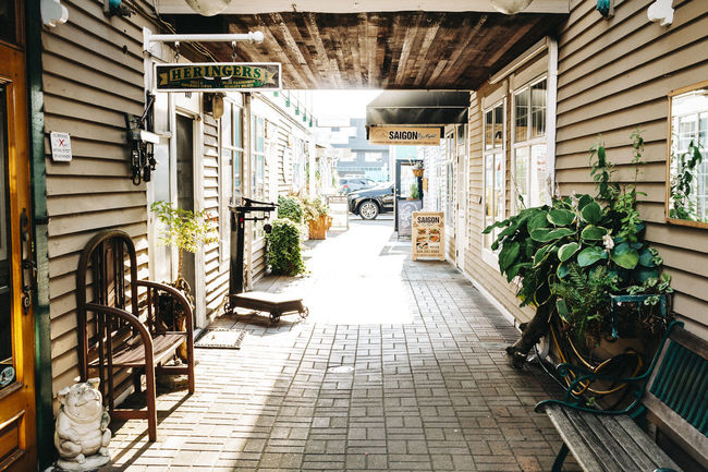 Late evening in Steveston, South of Richmond BC. Canada. Architecture Plant Built Structure Potted Plant Building Exterior Day Direction The Way Forward No People Nature Building Absence Seat Outdoors Flooring Empty City Chair Footpath Ceiling Steveston Steveston Village