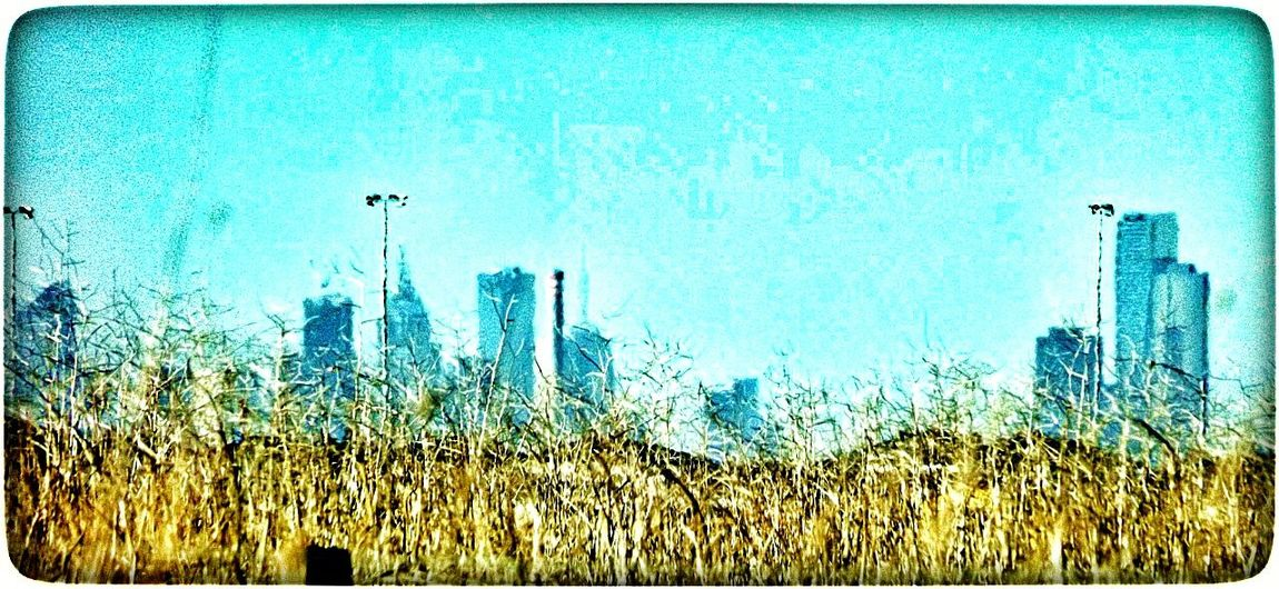 the city in the distance,beyond fields of gold. Blur City Scape