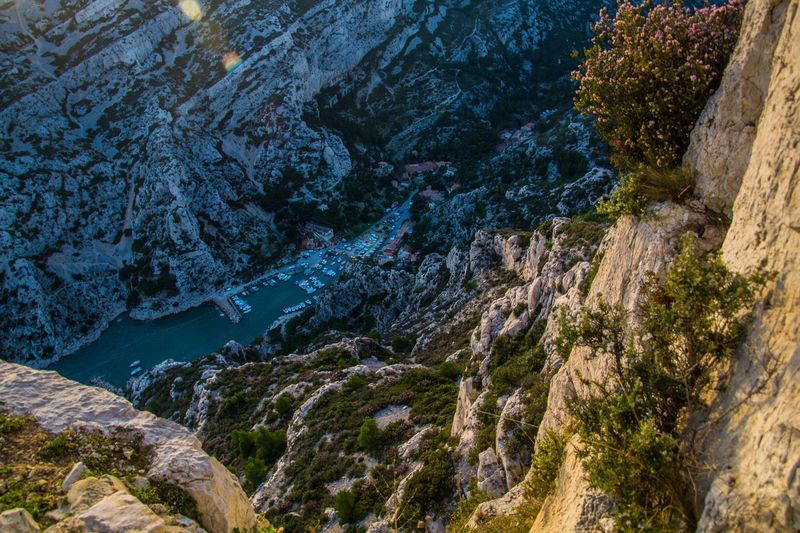 marseille,calanque,bouche du rhone, france Rock Beauty In Nature Mountain Rock - Object Scenics - Nature Plant Solid Rock Formation Tranquility No People Nature Tranquil Scene Tree Water Non-urban Scene Day High Angle View Geology Outdoors Formation Eroded Flowing Water