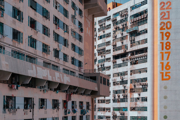 Factory buildings with rough exterior walls and old public houses in hong kong