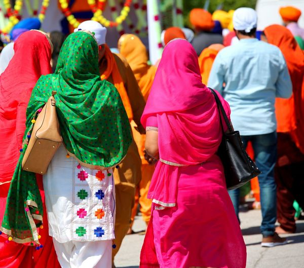 women of sikh religion at street of city Celebration City Life Indian Indian Culture  Sikhi Vivid Colours  Woman Clothing Day Daylight Manifestation Outddors Outdoors People Real People Rear View Rite Sikh Sikh People Sikh Religion Sikhism Sikhs Sikkim Veil Women