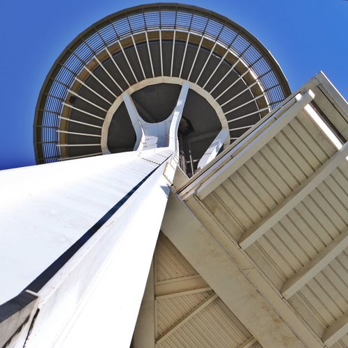 Seattle SpaceNeedle view from below. WA, USA. Tower Seattle Tourism Landmark View From Below Built Structure Spaceneedle