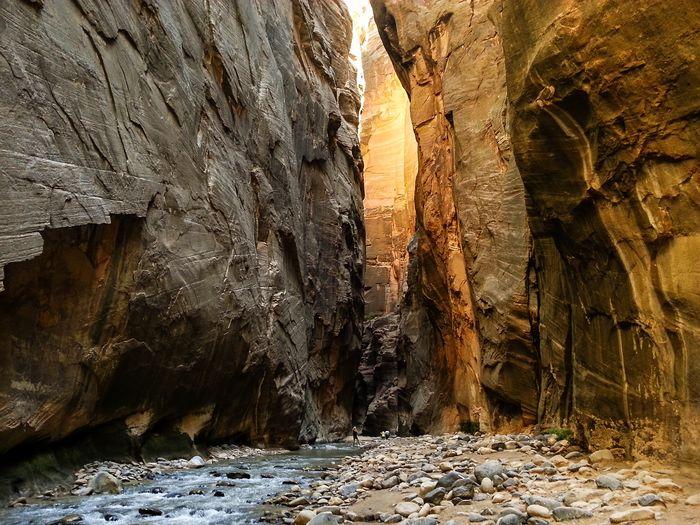 Virgin river flowing between rock mountains