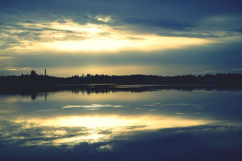 Shades Of Winter Reflection Lake Sunset Water Cloud - Sky Tranquility Landscape Horizon Over Water Nature Beauty In Nature No People Sky Silhouette