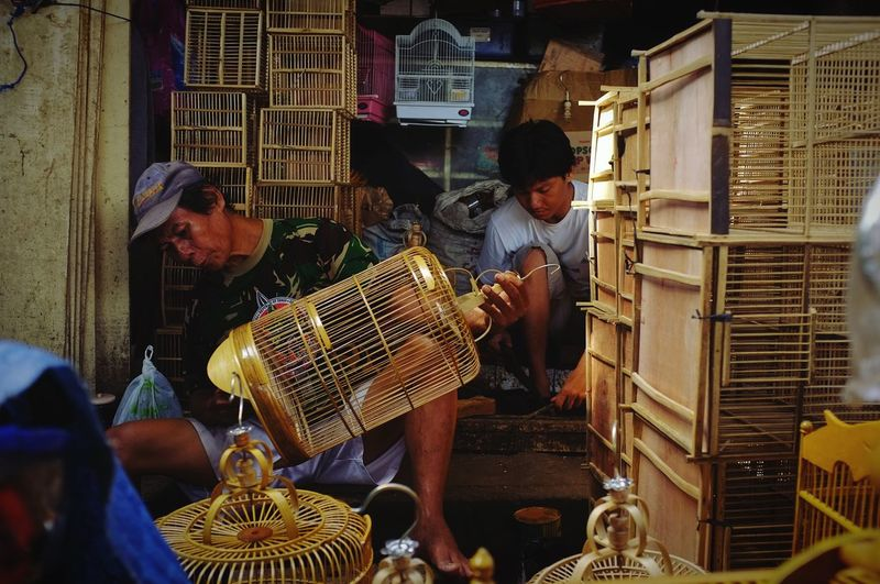 Bird Cage Maker Bird Cage Cage Working Occupation Men Industry Business Business Finance And Industry Workshop Small Business Manual Worker Street Market Birdcage Stories From The City EyeEmNewHere