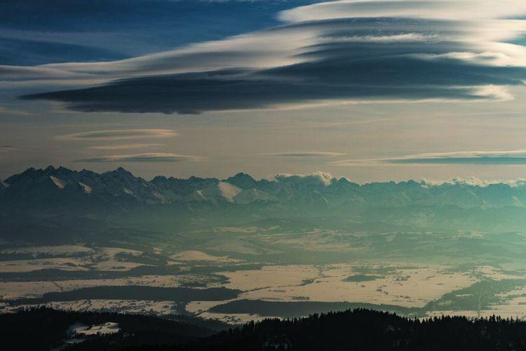 Beauty In Nature Cloud - Sky Scenics - Nature Sky Tranquil Scene Tranquility Environment Mountain Landscape No People Nature Sunset Idyllic Non-urban Scene Tree Outdoors Mountain Range Plant Silhouette Day Tatras Tatra Mountains