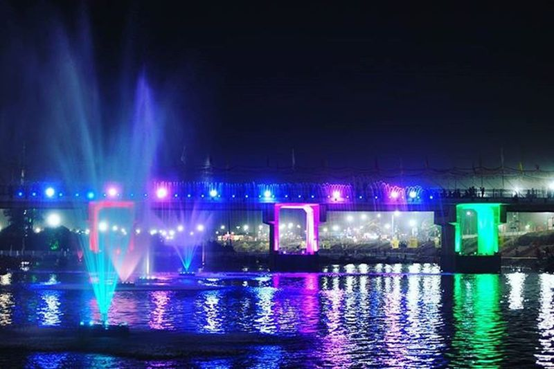 Simhasthujjain2016 Ramghat Ujjain Kumbhmela Night Bridge Colors Lake Rudrasagar Fountain Lights