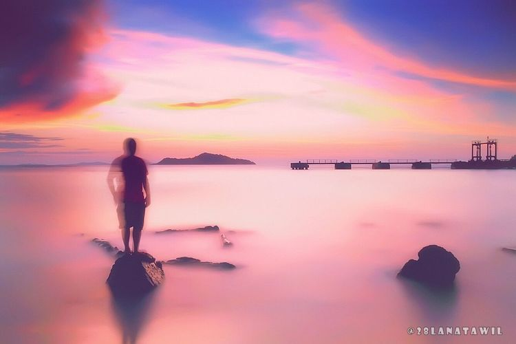 laki-laki Sunset Water Silhouette Sea