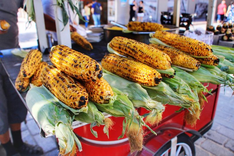 Corn, anyone? Travel Istanbul Turkey For Sale Incidental People Freshness Retail  Food Food And Drink Market Market Stall