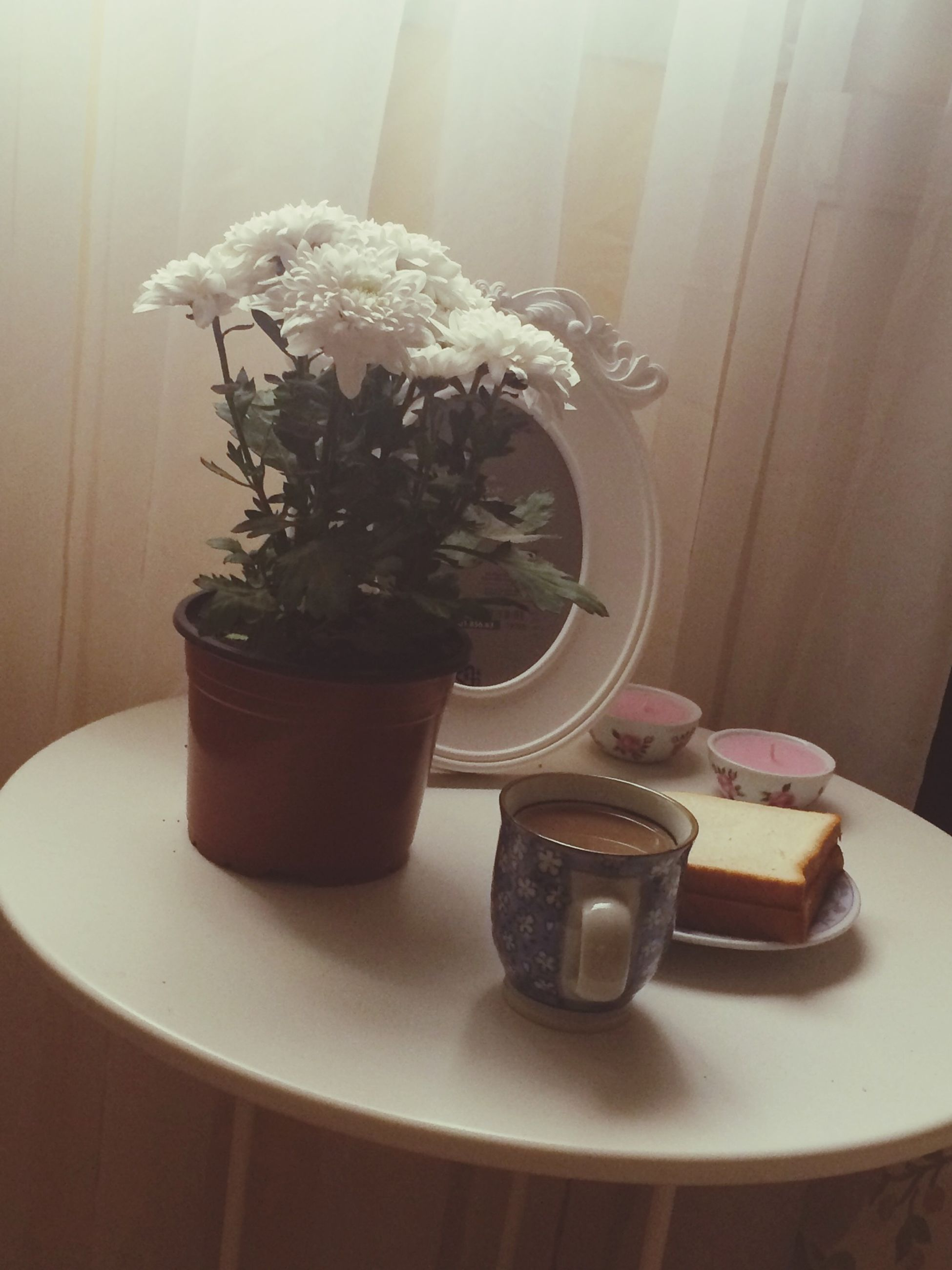 indoors, table, flower, vase, home interior, freshness, potted plant, plate, still life, food and drink, plant, no people, high angle view, window sill, coffee cup, window, decoration, domestic room, glass - material, chair