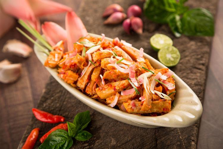 Close-up of spicy tofu dish