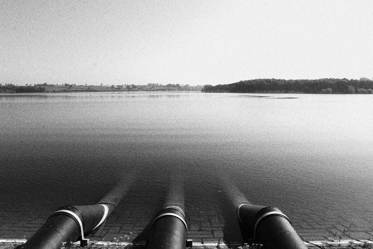 Reservoir Dam Nature Industry Industrial Industrial Landscapes Pipe Pipes Water Pipeline N Shore Calm Tranquil Scene Horizon Over Water Lakeside Tranquility Idyllic Countryside