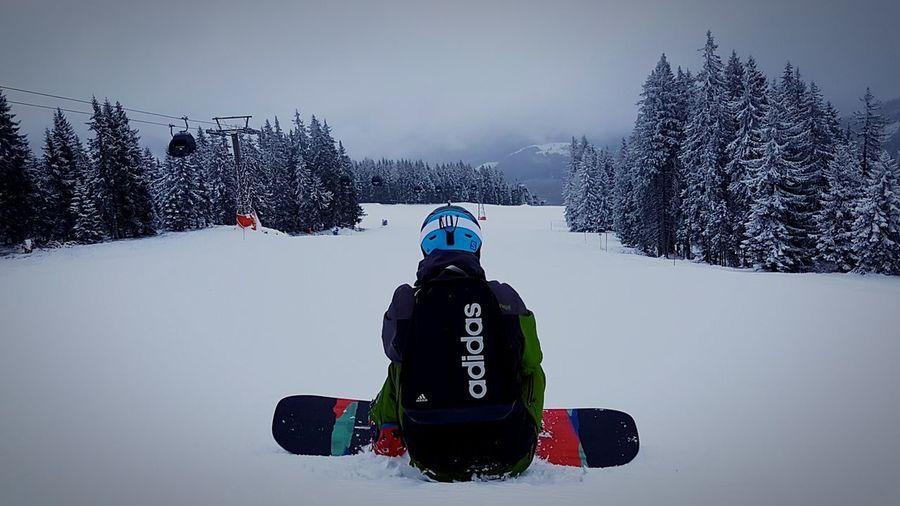 Snowboarding ❤ Sitting Alone Winter2016 ❄ Flachau Mountain View Burton  Mountain Cold Temperature Adidas