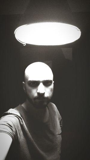 Illuminated Portrait Human Face Shadow Lighting Equipment Close-up