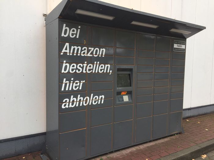 Amazon Locker location. Amazon Locker provides customers with a self-service delivery location to pick up and return packages Information Outdoors Sign Amazon Amazon Locker Delivery Delivery Service Delivering No People Shipping  Consumerism Online Shopping  Onlineshopping Communication Information Sign