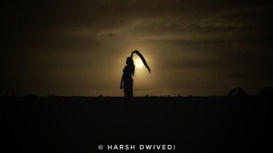 Let her Fly... EyeEmNewHere Silhouette Standing One Person Night Sunset Adult People Full Length Adults Only Sky Outdoors Only Women Landscape Rural Scene Young Adult Nature Photography Beauty In Nature Photooftheday Freshness High Angle View EyeEm Selects