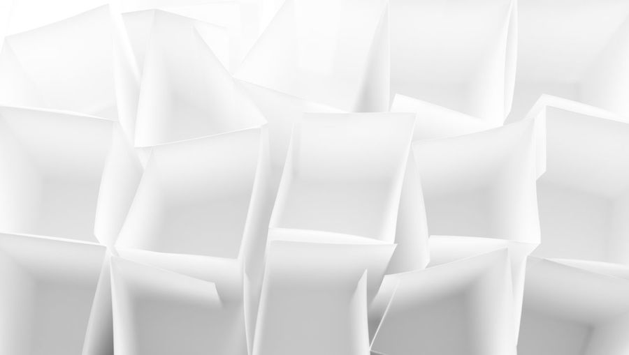 Abstract Backgrounds Boxes Full Frame Gray Monochrome Paper Whiote. White Background White Color