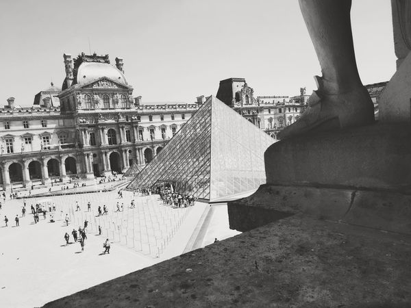Architecture Travel Destinations History Large Group Of People Real People Tourism Travel Lifestyles Vacations Louvre Travel Destination Travel Statue Sculpture Pyramide Du Louvre Pyramid Tourist Attraction  Paris Tourists Blackandwhite Black And White Monochrome Overexposed Urban Black & White