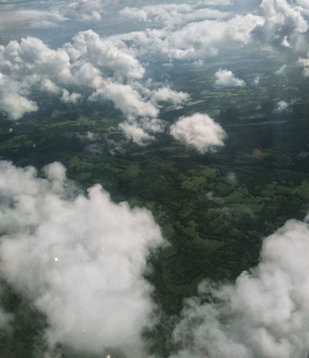 Aerial view of clouds over land
